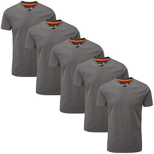 Charles Wilson 5er Packung Einfarbige T-Shirts mit V-Ausschnitt (Medium, Plain Graphite) -