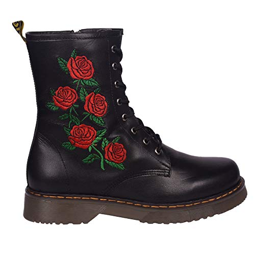 Kick Footwear Damen Knöchel Retro-Combat-Boot-Womens Lace Funky Vintage Goth Ankle Boot - UK 4/EU 37, Black Rose - Womens Vintage Rose