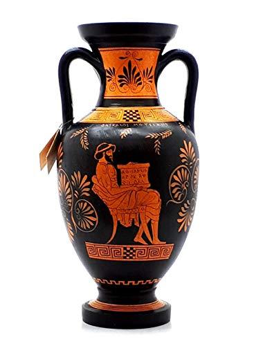 Antike griechische Vase, rote Figur, Amphora Lehrer der Musik und Athena, 32 cm - Griechische Vasen