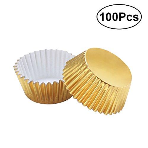 ULTNICE 100Gold Folie Cupcake Liners Aluminium Verdickte Backen Muffin-Tassen Fällen (Golden)