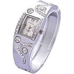 CHIC*MALL Womens Girls Chic Bracelet Bangle Wave Rhinestone Crystal Wrist Watch (Silver belt&White face)