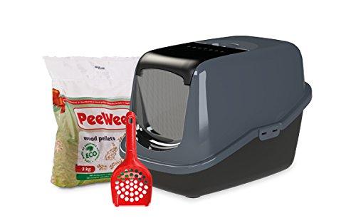 *PeeWee EcoHus – Katzentoilette – Starter-Paket Schwarz*