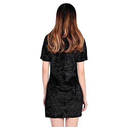 LAEMILIA Robe Mini Cocktail Femmes Velvet Manches Courtes Col Rond T-shirts Basique Simple Tee Pull Hauts Souple Noir