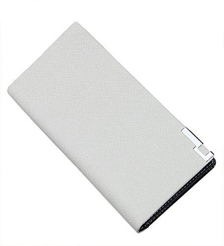 Lang Portemonnaie Herren Geldbörse Leder Geldbeutel Brieftasche für Männer Grau