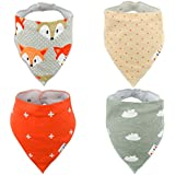 Alva Baby Stylish Unisex Baby Bandana Drool Bibs for Boys and Girls 4 Pack of Super Absorbent Baby Gift Settings SK08-EU