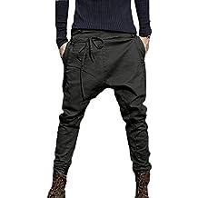 a68a50dcbad62 Pantalon Moyen-Âge pour Homme Cordelette au Niveau de Jambes, Grandes Poches  Sarouel Baggy