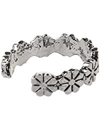 SLB Works 1pc Retro Flower Pattern Adjustable Toe Ring Foot Jewellery Antique Silver D2H0
