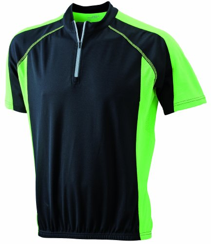 James & Nicholson Herren Kurzarm black/lime-green