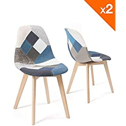 KAYELLES Lot de 2 chaises Patchwork scandinaves, NADA (Patchwork Bleu)