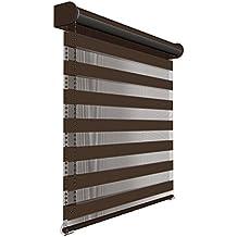 Victoria M - Estor doble enrollable (para ventanas y puertas) 95 x 230cm, marrón oscuro