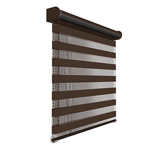 Victoria M - Estor doble enrollable (para ventanas y puertas) 135 x 230cm, marrón oscuro