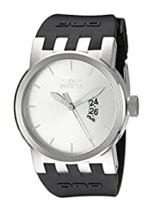 Invicta Men's Quartz Watch with Silver Dial Analogue Display and Black Plastic Strap 10407