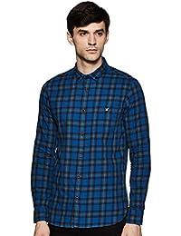 Amazon Brand - House & Shields Men's Checkered Slim fit Casual Shirt