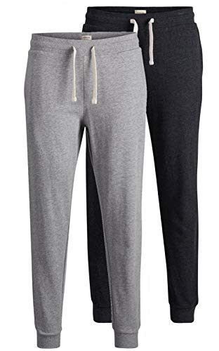 JACK & JONES 2er Pack Set Herren Jogginghosen Sweatpants aus 100% Baumwolle schwarz, blau, grau, dunkelgrau mit Bündchen lang Slim Fit Gratis Wäschenetz von B46 (2er Pack Mix 2, XXL)