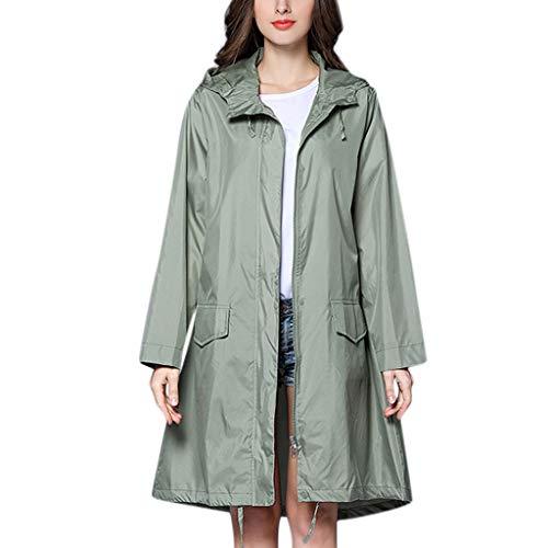 Staresen Frauen solide Regenjacke Hoodie im Freien Langer Mantel Winddicht Maritime Regenjacke für...