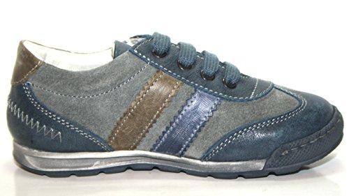 4Kids by Cherie 263 Kinder Schuhe Mädchen Jungen Halbschuhe Blau/grau/braun