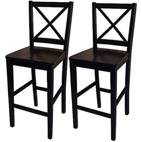 Virginia Cross-Back Counter Stools 24, Set of 2, Black by Virginia
