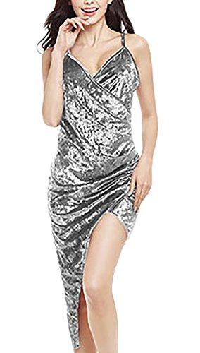 Damen Neckholderkleider Trägerkleid Ballkleid Ärmellos V-Ausschnitt Rückenfrei Schulterfrei Irregular Schlank Uni-Farben Mini Silber