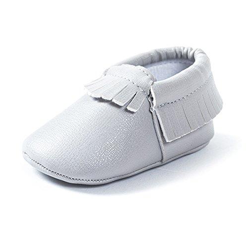 AUBIG Bébé Fiile Garçon Chaussures Souple/Pure Couleur Frange/Chaussures Premiers pas - Multicolore - Longueur intérieur 11-13cm Gris Clair