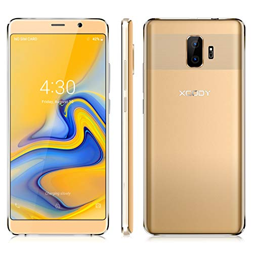 Xgody SIM Free Mobile Phones, Y27 Android GO 8.1, Dual SIM Unlocked Smartphone 6 Inch IPS Display- 2500mAh Battery - 5MP+5MP Dual Cameras - Bluetooth - GPS - 3G Mobile Phone (Gold) Unlocked Mobile