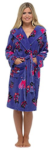 Damen Tom Franks Warm Fleece Schaf Bedruckte Kapuze Gewickelt Bademantel Bademantel Blau
