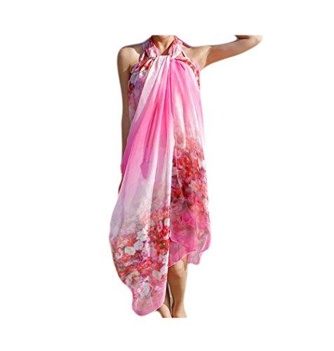 UK_Stone Damen Übergroesse Modisch Fuchsia Blüten Sarong Pareo Strandtuch Wickeltuch Bikini Sonnenschutz Decke Cover-up (Gänseblümchen Fuchsia)