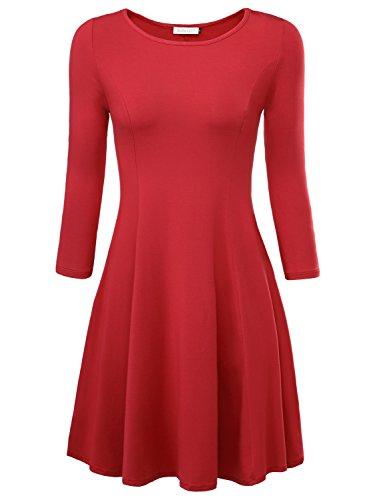 BaiShengGT Damen Skaterkleid Rundhals 3/4-Arm Fattern Stretch Basic Kleider Weinrot S -