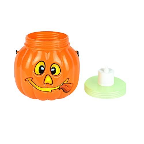 Amosfun Halloween-Kürbis-Eimer, Leuchtend, tragbar, Kürbis-Eimer für Kinder, Trick oder Leckerlis, mit elektronischer Kerze für Halloween-Partys