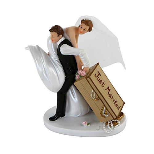 Roomando Tortenfigur Brautpaar mit Schatzkiste Hochzeit Dekofigur verschiedene Motive von Braut und Bräutigam (Tortenfigur Brautpaar mit Schatzkiste)