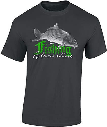 Angler T-Shirt: Fishing Adrenaline - Karpfen - Geschenk für Angler - Anglerbekleidung Herren - Angelkleidung Männer Mann - Petri Heil - Angel - Anglerin - Fishing - Fisch - Fischer - Just-Fish (M)