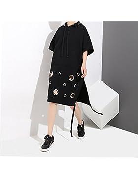 YYRZZ Vestido con capucha de manga larga y manga corta, versión coreana del agujero es suelto y fino, Medium