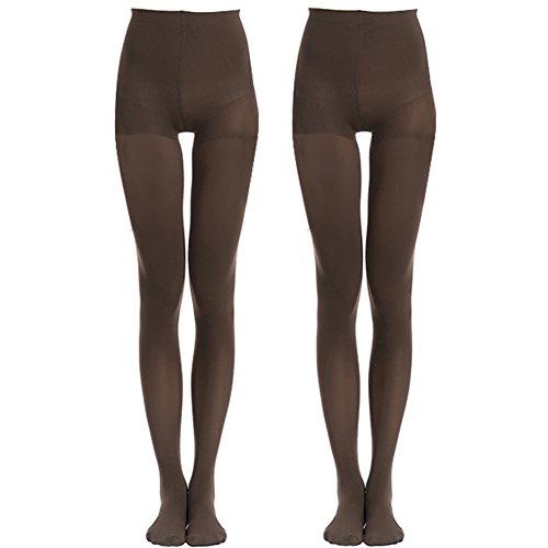 MANZI 2 Paar Damen Klassische Mode Casual Opaque Control-Top Strumpfhosen 70 Denier (Control Plus Größe-strumpfhosen Top)