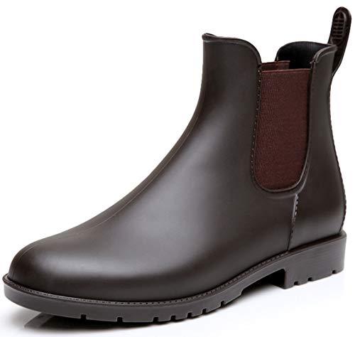 Nzcm Kurze Damen Gummistiefel Herren Regenstiefel Wasserdicht Lack Regen Schuhe Ankle Chelsea Boots Gummi Stiefel mit Blockabsatz Braun Gr.38 (Damen Gummi Schuhe)