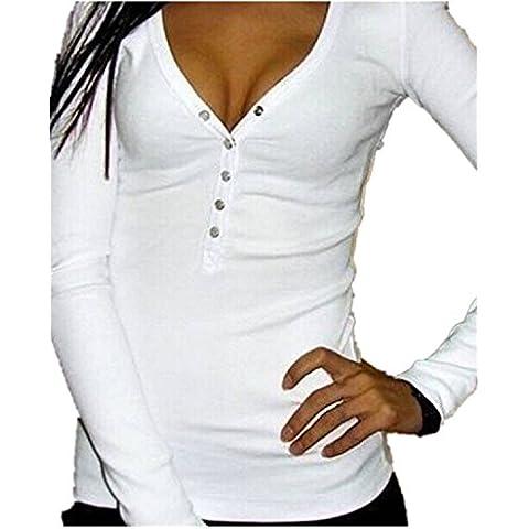 Minetom Mujer Delgadas Camisas Manga Larga Blusa V-Cuello Tops Con Botones Pullover