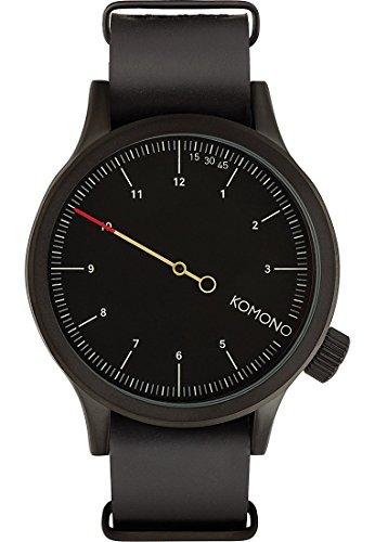 Komono Herren-Armbanduhr Analog Quarz One Size, schwarz, schwarz