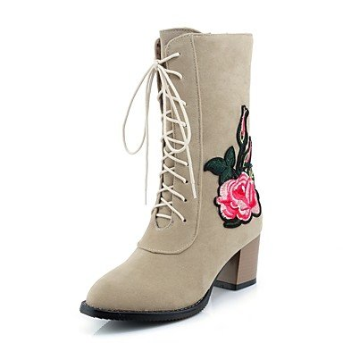 RTRY Scarpe donna pelle Nubuck caduta molla Comfort cinturino alla caviglia stivali Chunky tallone punta tonda Mid-Calf stivali Lace-Up fiore per Abbigliamento Casual US10.5 / EU42 / UK8.5 / CN43
