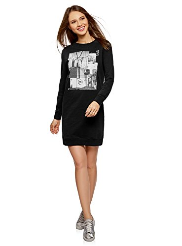 oodji Ultra Femme Robe de Sport avec Imprimé, Noir, FR 40 / M