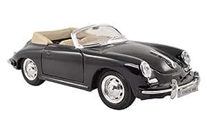 welly porsche 356b 356 b une dÉcapotable noir ouverte modÈle en mÉtal 1/24 welly voiture modÈle