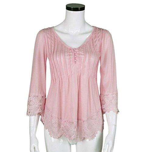 Femme Plus Taille s'Swing Tunique TOPS Jaminy Dentelle Crochet col V T-shirt Blouse TOPS rouge pastèque