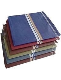 S4S Men's 100% Cotton Premium Collection Handkerchiefs - Pack of 6 (Dark Color Assorted_46X46 CM)