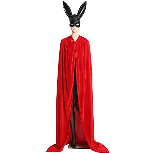 vitihipsy Halloween Unisex Lange SAMT Mit Kapuze Mantel Cape Deluxe Vampir Kostüm Hochzeit ()