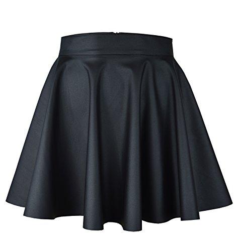 Roban Fashion ® Damen Röcke Wetlook Hohe Taille Mini Hippie Röck Flared Ausgestellt Lederrock Mini Länge (38/M Taille 70cm, Schwarz-Mini)