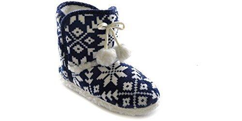 Socks Uwear SlumberzzZ Hausschuhe Damen Nordic Knit Pom Pom Stiefel Style Warm-Fell Gefüttert Slipper ft0783, Blau - Blue Knit - Größe: 36 EU (Creme Top Knit)