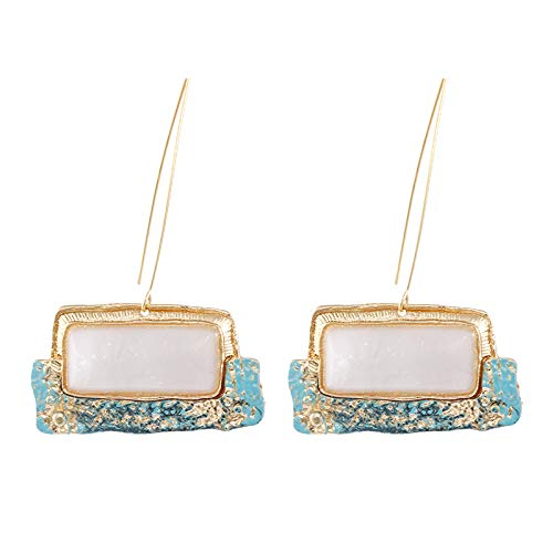 QYMX Ohrring Frauen, Weiß Stein Ohrringe Für Frauen Geometrie Unregelmäßige Ohrringe Hochzeit Trend Modeschmuck