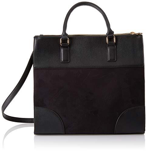 Dorothy Perkins Damen Double Zip Tote Stofftasche, Schwarz (Black), 14x24x34 centimeters -