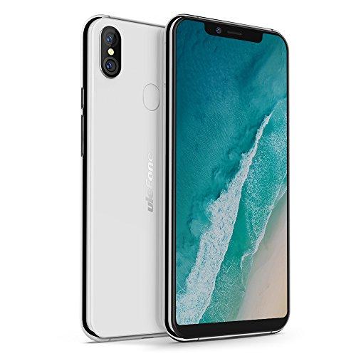 Ulefone X wydany Smartphone Słuchawka 4G (2018) Android 8.1, 5.85-calowy HD + 18: 9 Wszystko Ekran ładowania baterii 3300mAh Qi, procesor Octa-Core, 4G + 64G, tylny podwójny + przednia kamera 13 MP aparat fotograficzny, ID palec, Dual Nano SIM (biały)
