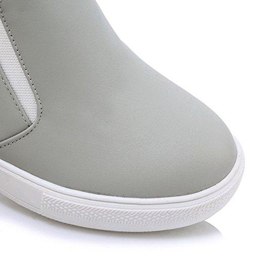 AllhqFashion Femme Couleur Unie Matière Souple à Talon Haut Tire Rond Chaussures Légeres Gris