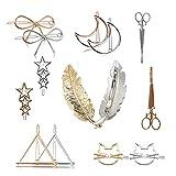 Ymwave Pince à Cheveux en métal minimaliste Barrettes Accessoires pour les femmes et les filles,Lot de 14,Or et Argent