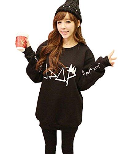 Minetom Damen Grosse Pullover Sweaters Hoodie Sweatshirt Langarm T-shirt Tops Bluse ( Schwarz DE 40 )