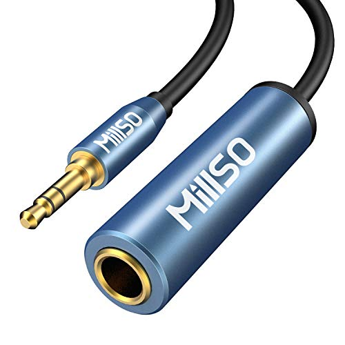 MillSO Klinke Adapter 3,5mm Klinkenstecker auf 6,35mm Klinken Buchse TRS 1/4 zu 1/8 Stereo Audio Aux Adapter Kabel mit 24K Vergoldete Kontakte für Kopfhörer, Lautsprecher und Klavier - 30cm